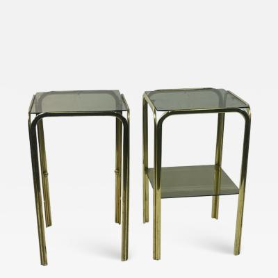 Milo Baughman MODERNIST PAIR OF GOLD TUBULAR DOUBLE TIER SIDE TABLES