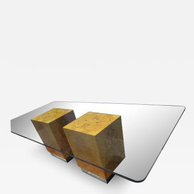 Milo Baughman Magnificent Milo Baughman Double Pedestal Olive Wood Cube Base Dining Table