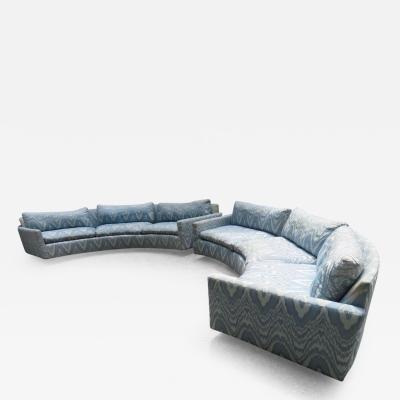 Milo Baughman Magnificent Pair of Milo Baughman Circular Curved Sofa Sectional Midcentury