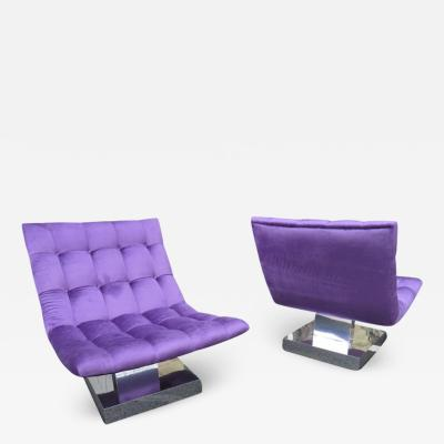 Milo Baughman Magnificent Pair of Restored Milo Baughman Chrome Cube Slipper Lounge Chairs