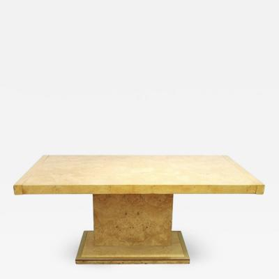 Milo Baughman Mid Century Modern Burl Wood Dining Table With Leaves