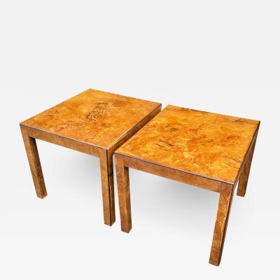 Milo Baughman Mid Century Modern Milo Baughman Oyster Burl Walnut Side Tables a Pair