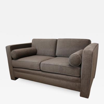 Milo Baughman Mid Century Modern Milo Baughman Style with New Mohair Wool Tuxedo Love Seat