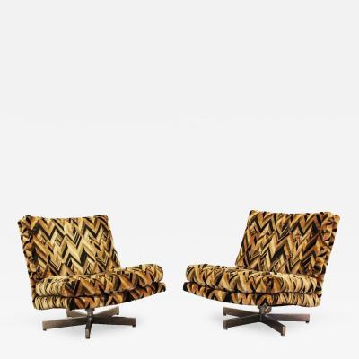 Milo Baughman Mid Century Modern Pair Milo Baughman Chrome Lounge Slipper Swivel Chairs