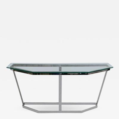 Milo Baughman Mid Century Modern Polished Chrome Glass Milo Baughman Console Table
