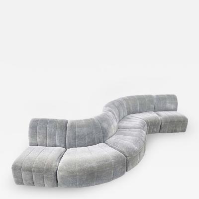 Milo Baughman Mid Century Modern Serpentine Milo Baughman Modular Sectional Sofa in Gray