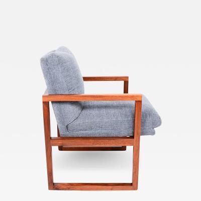 Milo Baughman Mid Century Modern Walnut Framed Armchair in Grey Milo Baughman
