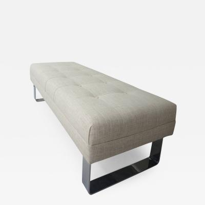 Milo Baughman Mid Century Upholstered Bench with Polished Chrome by Milo Baughman 1970s