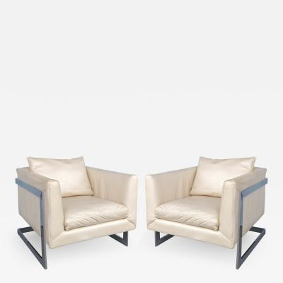 Milo Baughman Mid century Milo Baughman Cantilevered Chrome Ivory Leather Club Chairs Pair