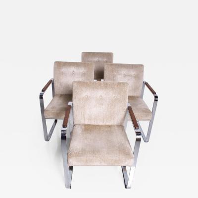 Milo Baughman MidCentury Modern Set of 4 Milo Baughman for Thayer Coggin Chrome Dining Chairs