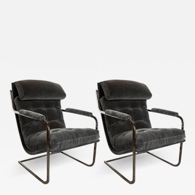 Milo Baughman Midcentury Chrome Graphite Mohair Button Back Lounge Chairs by Milo Baughman
