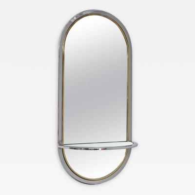 Milo Baughman Midcentury Chrome Wall Hung Mirror with Shelf Milo Baughman for DIA 1970s