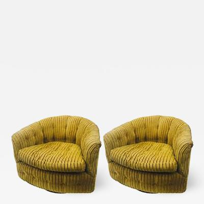 Milo Baughman Midcentury Pair of Milo Baughman Swivel Barrel Back Tub Chairs