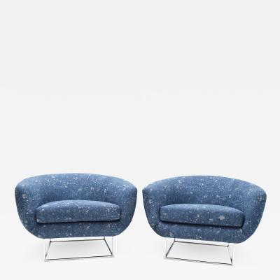 Milo Baughman Milo Baughman 1970s Lounge Chairs in Blue Upholstery by Donghia