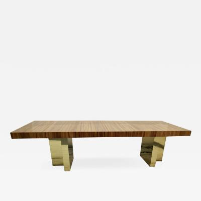 Milo Baughman Milo Baughman Brass and Exotic Brazilian Rosewood Dining Table for Thayer Coggin