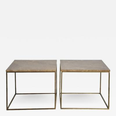 Milo Baughman Milo Baughman Brass and Travertine Side Tables