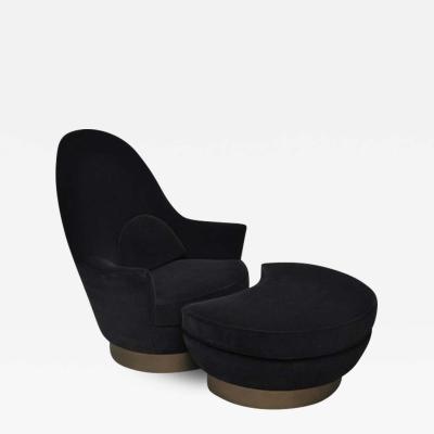 Milo Baughman Milo Baughman Bronze Base Swivel Chair with Ottoman