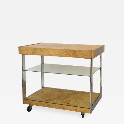 Milo Baughman Milo Baughman Burl Wood Bar Cart