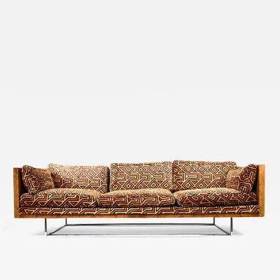 Milo Baughman Milo Baughman Burl Wood Chrome Sofa