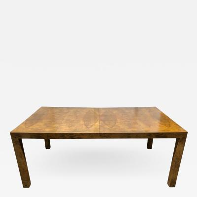 Milo Baughman Milo Baughman Burl Wood Dining Table w Two Leaves