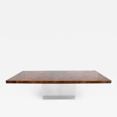 Milo Baughman Milo Baughman Burl Wood Dining Table with Chrome Base