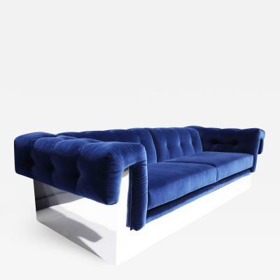 Milo Baughman Milo Baughman Button Tufted Chrome Sofa in a French Blue Velvet