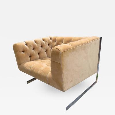 Milo Baughman Milo Baughman Cantilever Chrome Tufted Cube Lounge Chair Mid Century Modern