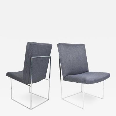 Milo Baughman Milo Baughman Chrome Dining Chair in Holly Hunt Blue Alpaca by Pairs up to 8