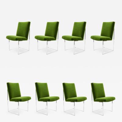 Milo Baughman Milo Baughman Dining Chairs in Italian Velvet Eight