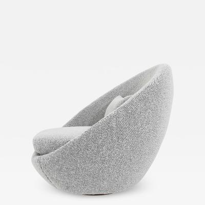 Milo Baughman Milo Baughman Egg Swivel Chair in Black and White Nubby Upholstery
