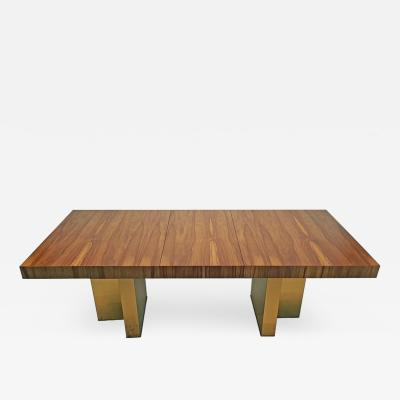 Milo Baughman Milo Baughman Exotic Brazilian Rosewood and Brass Dining Table for Thayer Coggin