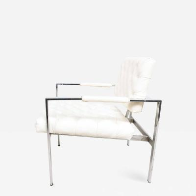 Milo Baughman Milo Baughman Faux Leather Chrome Tufted Lounge Chair Thayer Coggin 1960s