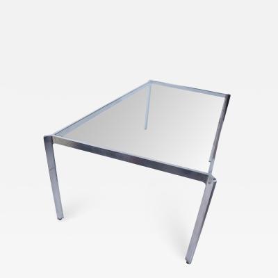 Milo Baughman Milo Baughman French Glass Dining Table Angular Base Polished Aluminum 1970s