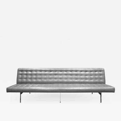 Milo Baughman Milo Baughman Long Slipper Sofa in Tufted Silver Satin Vinyl 1970s