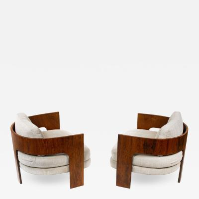 Milo Baughman Milo Baughman Lounge Chairs Model ON 3 in Brazilian Rosewood for Thayer Coggin