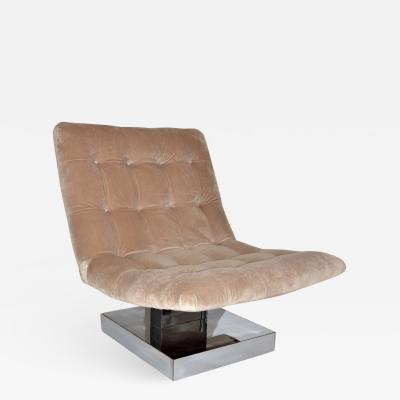 Milo Baughman Milo Baughman Mohair Scoop Lounge Chair for Thayer Coggin 1980