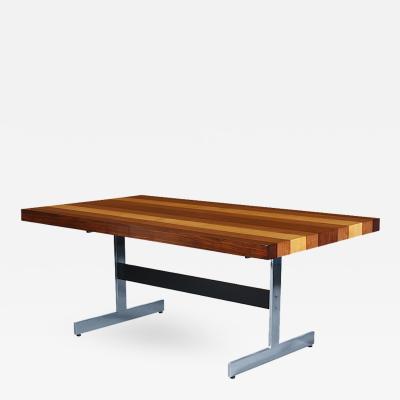 Milo Baughman Milo Baughman Multi Wood Chrome Dining Table for Directional