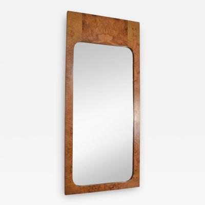 Milo Baughman Milo Baughman Olive Burlwood Wall Mirror for Lane 1970s Hollywood Elegance