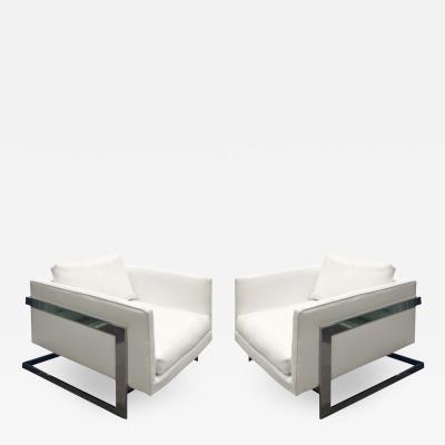 Milo Baughman Milo Baughman Pair of Boxy Club Chairs with Polished Chrome 1970s