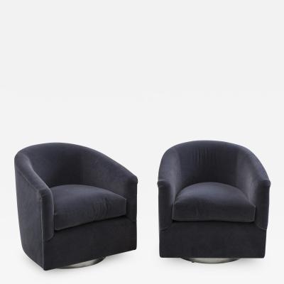 milo baughman milo baughman pair of dark grey swivel chair usa