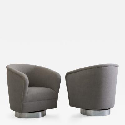 Milo Baughman Milo Baughman Pair of Grey Linen Narrow Swivel Chairs USA c 1970s
