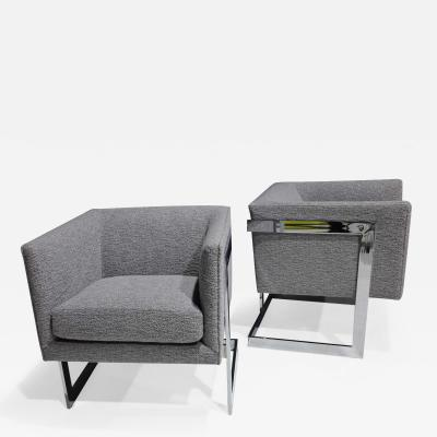 Milo Baughman Milo Baughman Petite T Back Chairs in Holly Hunt Outdoors Boucle