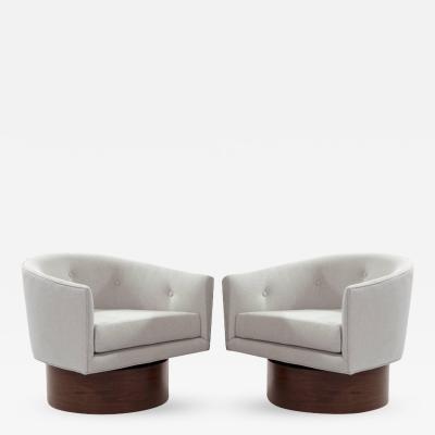 Milo Baughman Milo Baughman Rosewood Base Swivel Chairs in Linen