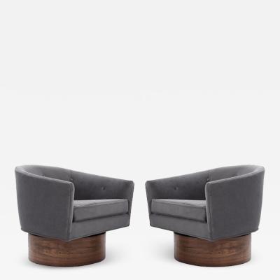 Milo Baughman Milo Baughman Rosewood Base Swivel Chairs in Mohair