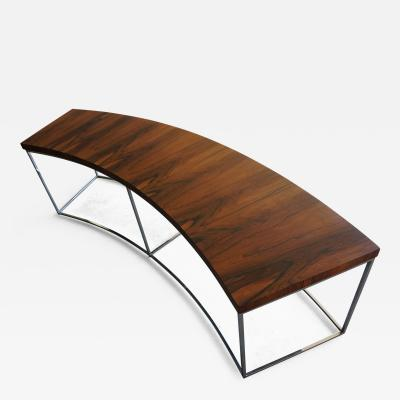 Milo Baughman Milo Baughman Rosewood and Chrome Curved Sofa Table C 1970s