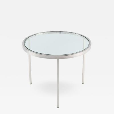 Milo Baughman Milo Baughman Round Chrome Side Table with Inset Glass Top