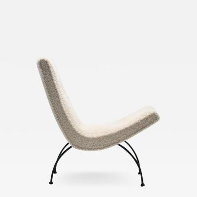 Milo Baughman Milo Baughman Scoop Chair in Super Soft Ivory Boucl with Iron Legs c 1950s
