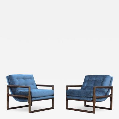 Milo Baughman Milo Baughman Scoop Oak Lounge Chairs