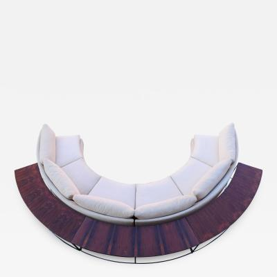 Milo Baughman Milo Baughman Semi Circular Sofa with Rosewood Tables