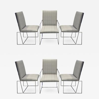 Milo Baughman Milo Baughman Set of 6 Dining Chairs with Angled Backs 1970s